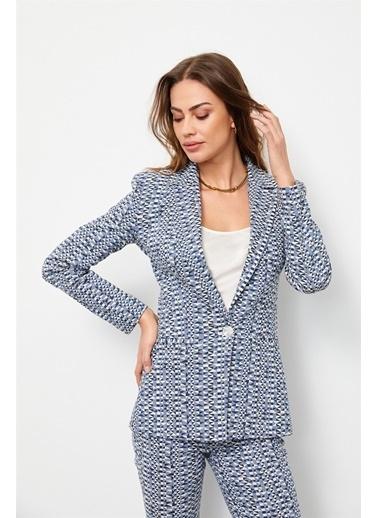 Setre Tozlu Mavi Geometrik Desen Blazer Ceket Mavi